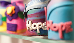 lines of small bottle that say hope